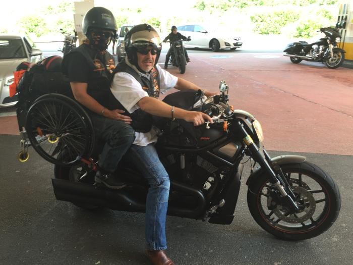 Tina & Stephan 2015 auf dem Rückweg mit ihrer Harley Davidson Nightrod Special nach Hause von den Swiss Harley Days in Lugano