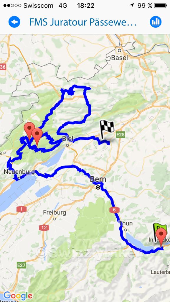 Aufgezeichnete Route für FMS Pässewettbewerb