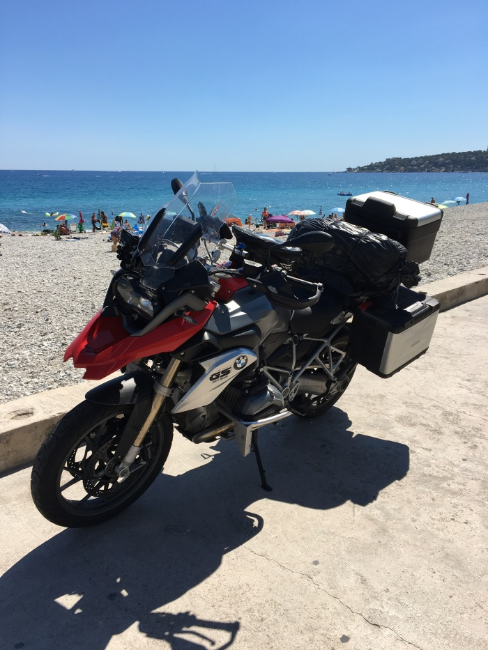 We made it. Me and my BMW R 1200 GS to the Menton-Beach!