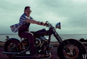 Bruce Springsteen on his bike