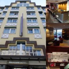 Hotel Aussenansicht, Bar, Eingangsbereich und Morgenzeitungen im Frühstücksraum