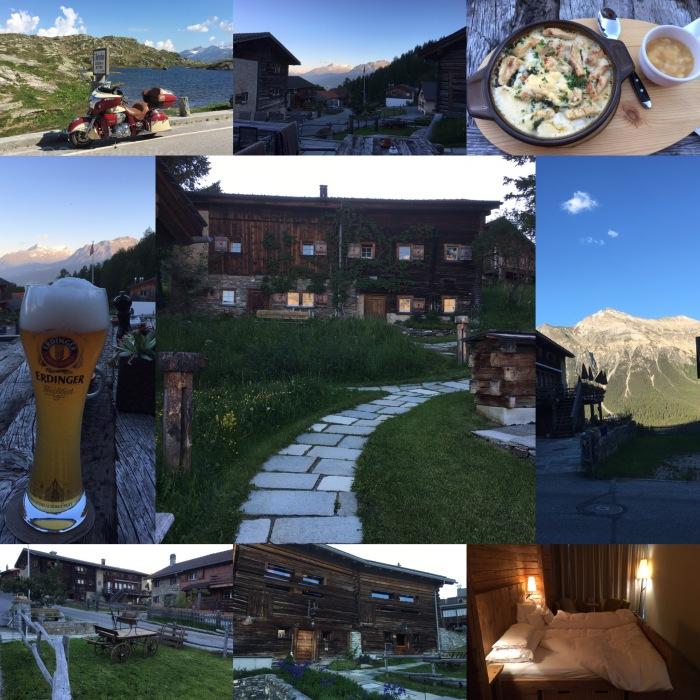 Elf bis zu 300 Jahre alte Hütten und Ställe bilden das top-moderne Hotel Guarda Val in Sporz bei Lenzerheide, Graubünden