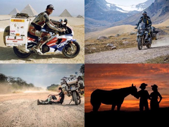 Collage Referenten Abenteuer Welt 2017 Sjaak Lucassen, Rolf Lange, Time to Ride - Bea & Helle, Günter Wamser