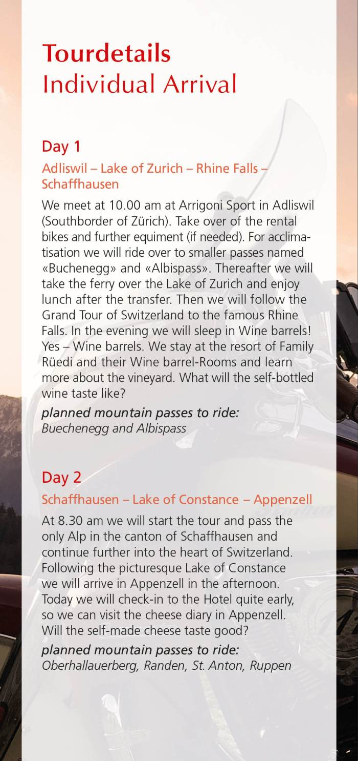 Programm Swizzlybiker's Grand Tour of Switzerland, eastern-part